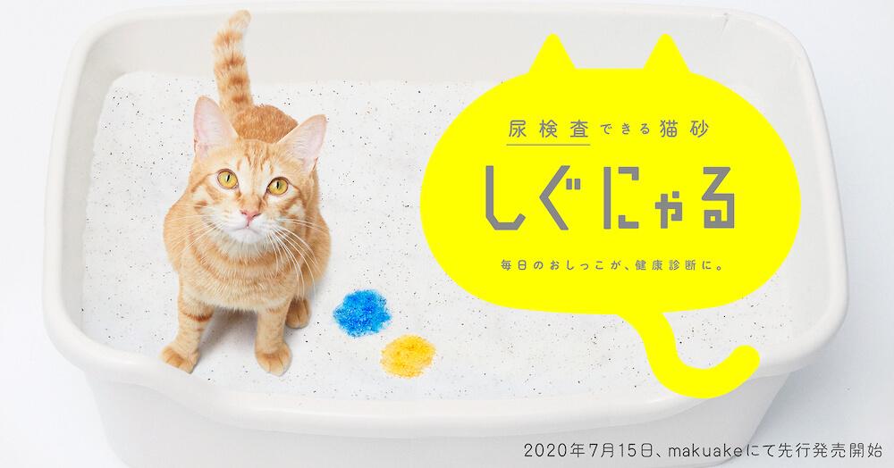 猫のおしっこに触れると色が変化して、猫の健康状態を知らせてくれる猫砂「しぐにゃる」