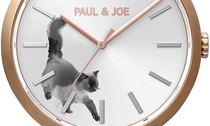 水墨画のようなタッチで描かれたネコがデザインされた腕時計「INK CAT(インクキャット)」のダイアル部分 by PAUL & JOE(ポールアンドジョー)