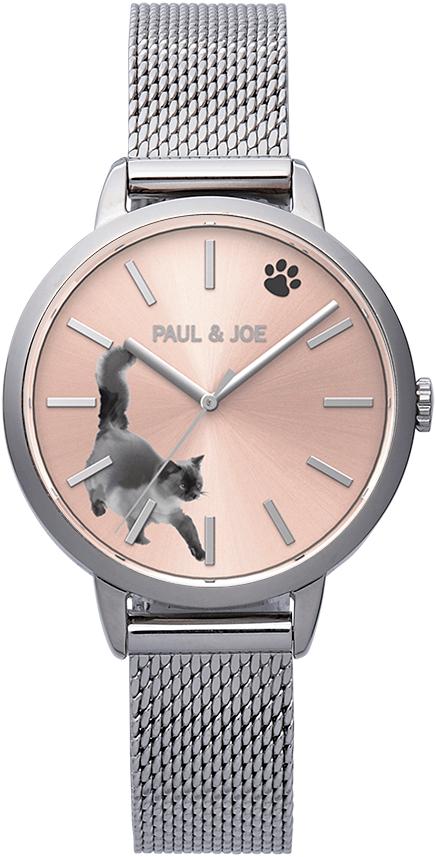 水墨画のような猫デザインの腕時計「INK CAT(インクキャット)」シルバー by PAUL & JOE(ポールアンドジョー)