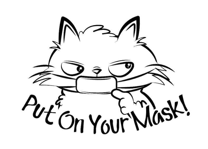 猫のイラストでマスクをデコレーションできる「マスタ」マスクをつけてくださいバージョン