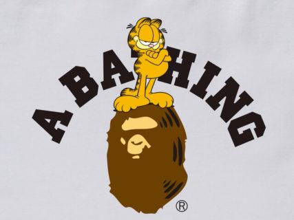 世界で最も有名な猫キャラGARFIELD(ガーフィールド)、裏原宿アパレルブランドのA BATHING APE(ア・ベイシング・エイプ)とコラボ