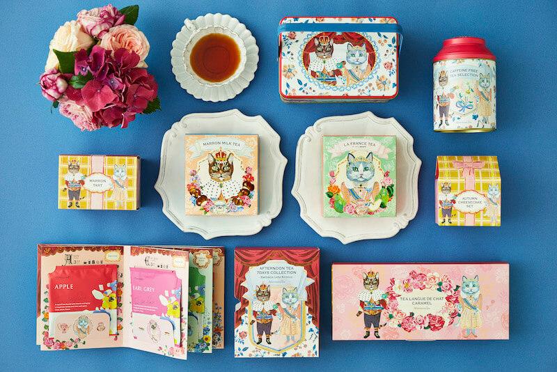 アフタヌーンティー・ティールームから発売される秋限定の紅茶や焼き菓子の商品ラインナップイメージ