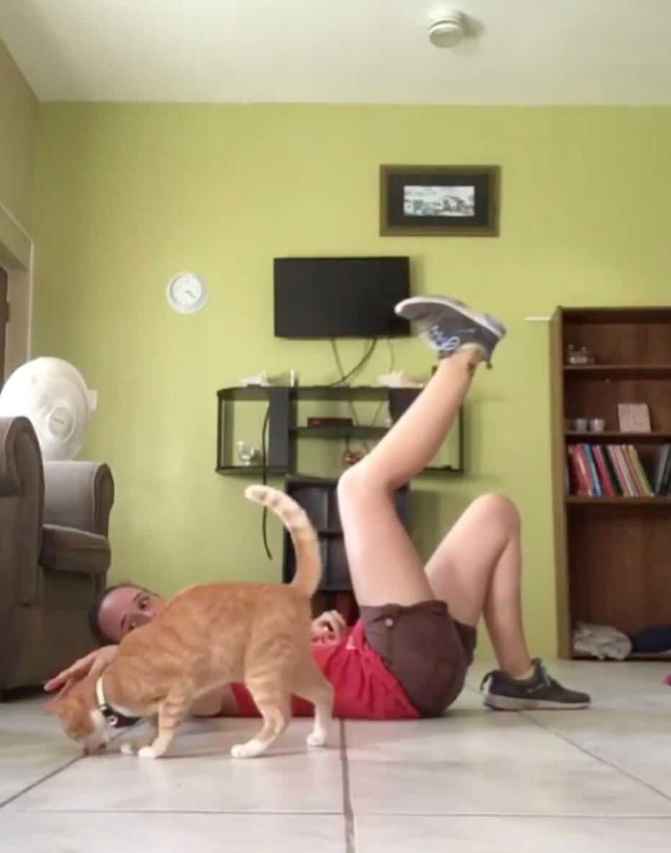飼い主さんのトレーニングに付き合ったご褒美におやつをもらう猫