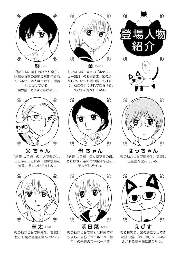 マンガ『ざんねん!ねこ旅館』の登場キャラクター紹介ページ