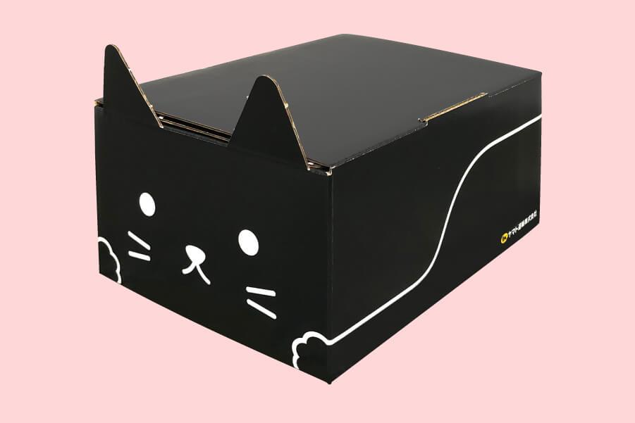 ヤマト運輸の宅急便でも使える猫型の梱包資材「ネコ耳BOX(黒ネコ)」製品イメージ