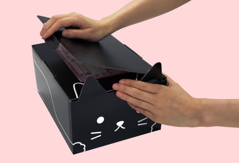 猫型の梱包資材ダンボール「ネコ耳BOX(黒ネコ)」で送り状を隠す方法