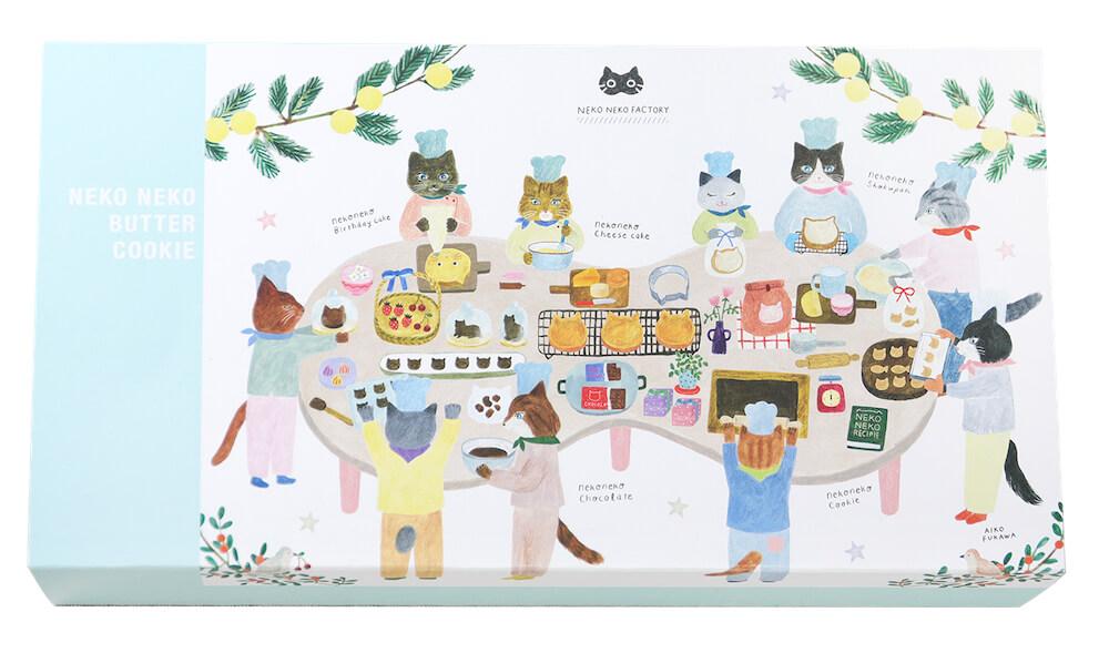 布川愛子さんがデザインした「ねこねこバタークッキー」の製品パッケージ