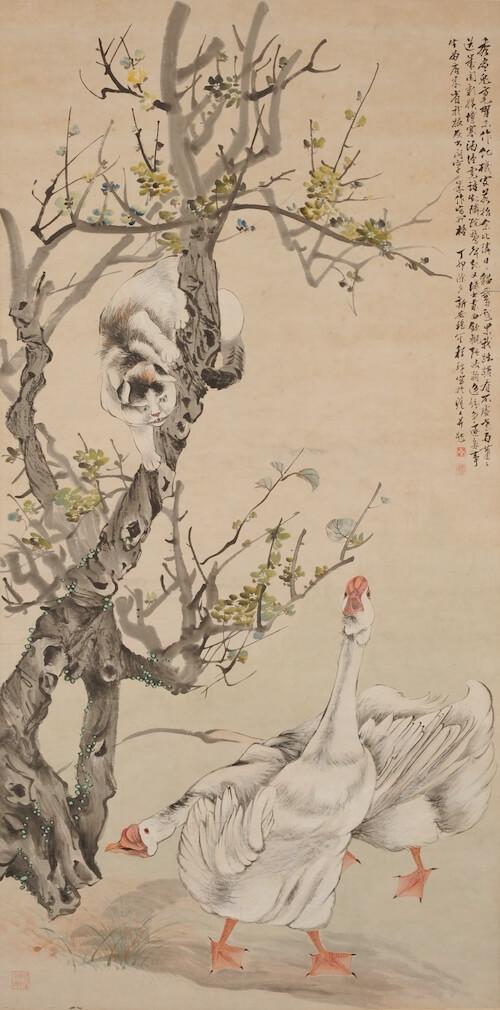 猫と2匹のガチョウを描いた近代中国絵画、顧伯逵「耄耋図」