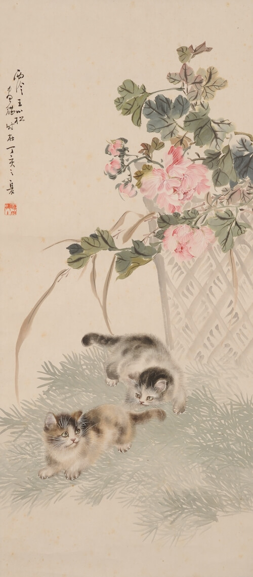 猫と牡丹を描いた近代中国絵画、王小松「双猫図」