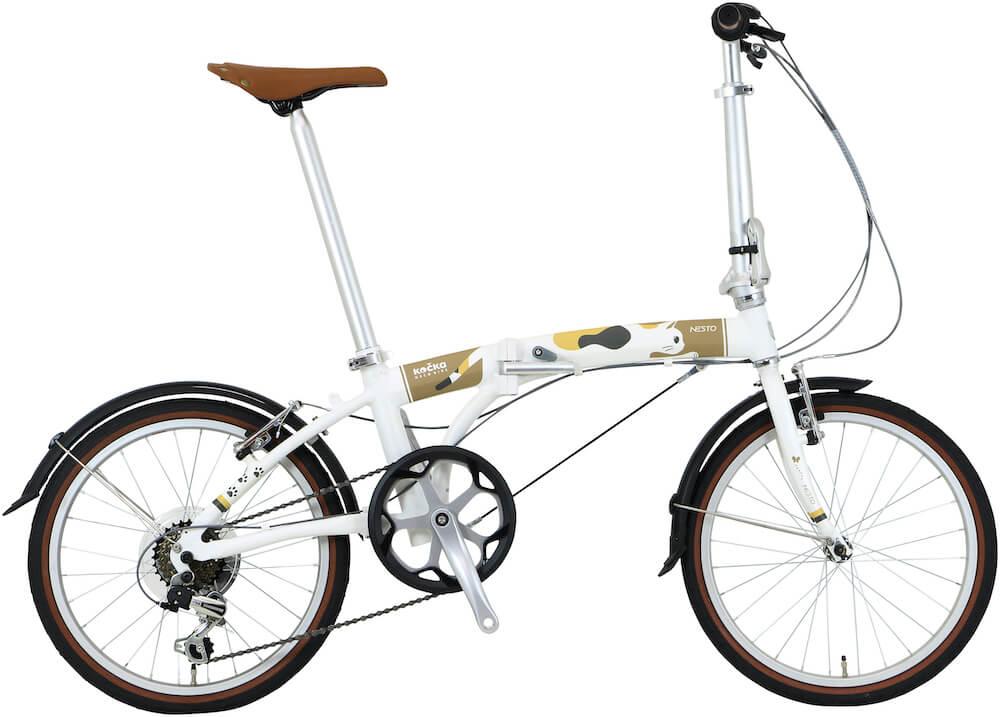 猫好きのための折り畳み自転車「kocka (コチカ)」シロ猫バージョン