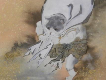 風神雷神を「ネコ」に置き換えて描くと…どんな感じ?日本画家・大矢亮氏の個展が大阪で開催