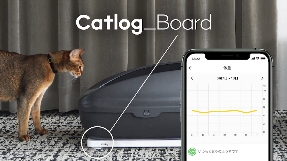 猫のトイレに設置して泌尿器系トラブルの前兆を検出するスマートデバイス「Catlog Board(キャトログボード)」