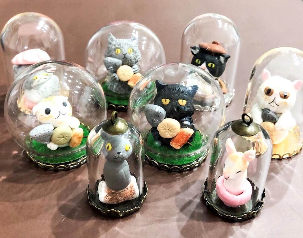 おでんスタッフ猫モチーフのガラスドーム(nekoemi)
