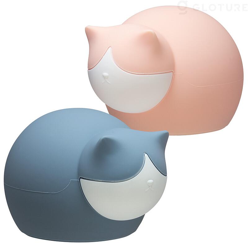 猫型の湯たんぽ「キャットウォーマー」のカラーバリエーション(ピンク&ブルー)