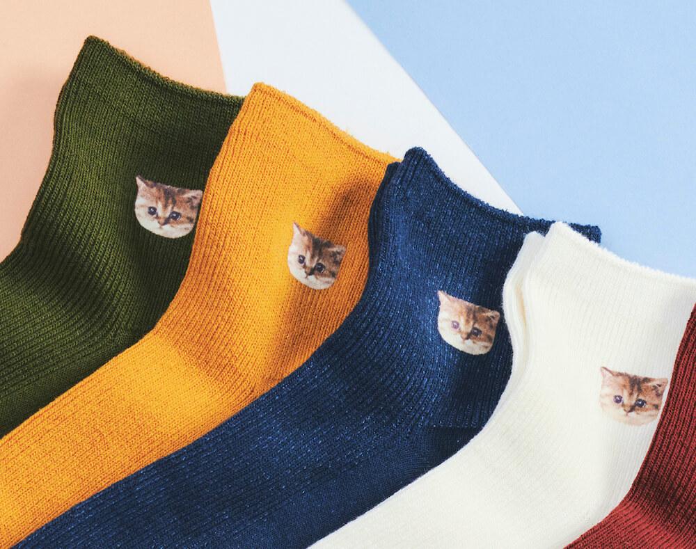 猫のヌネット靴下4色(カーキ、キャメル、ネイビー、オフホワイト) by PAUL & JOE(ポールアンドジョー)