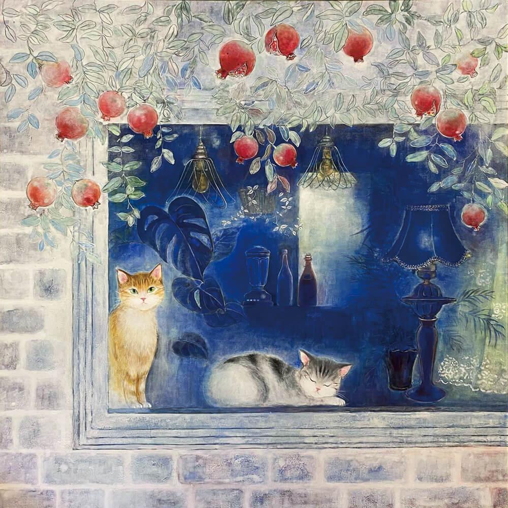 こうべ市民美術展・日本画部門で神戸新聞社賞を受賞した猫の絵画作品「窓際」 by 荒井克子(日本画)