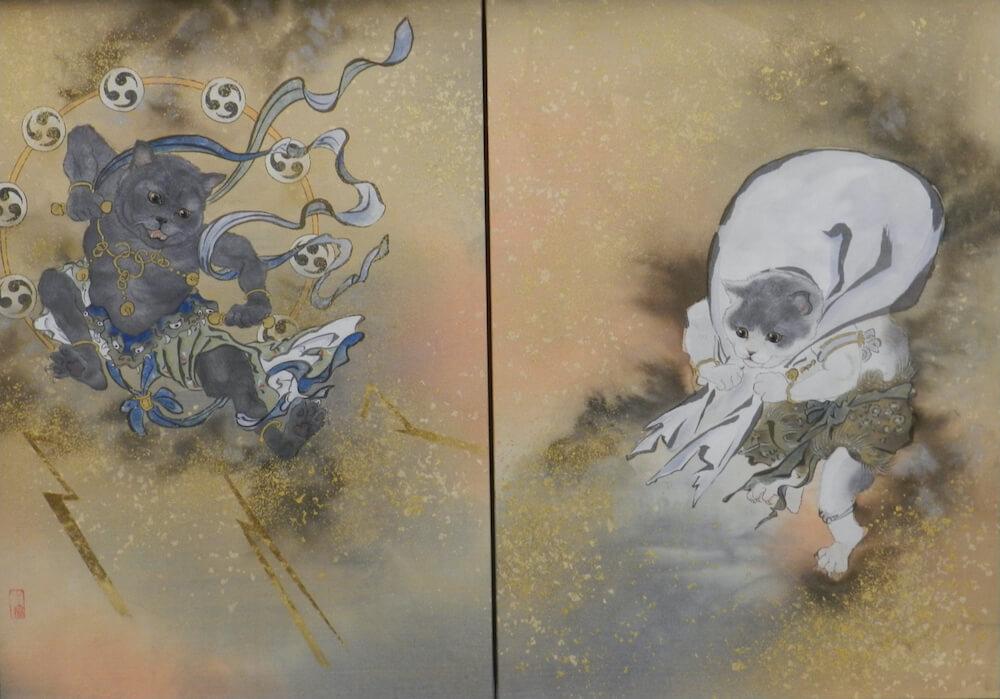 風神雷神をネコに置き換えて描いた日本画「雷猫・風猫図」12号 絹本 by 大矢亮