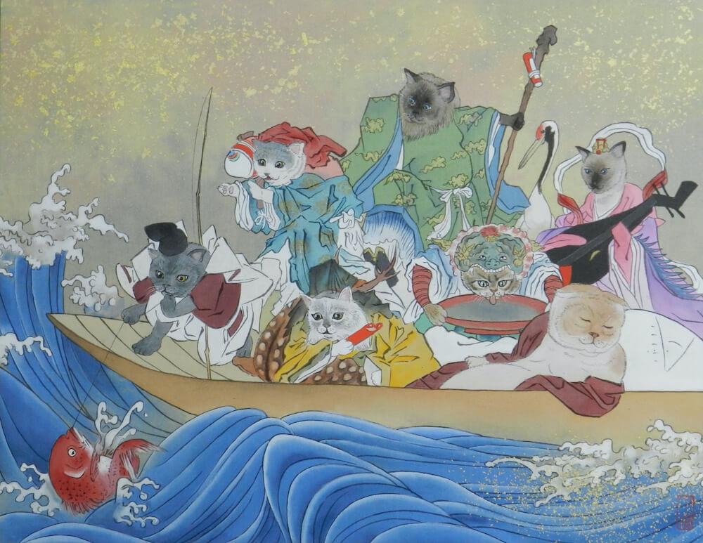 七福神をネコに置き換えて描いた日本画「七福猫神図」6号 絹本 by 大矢亮