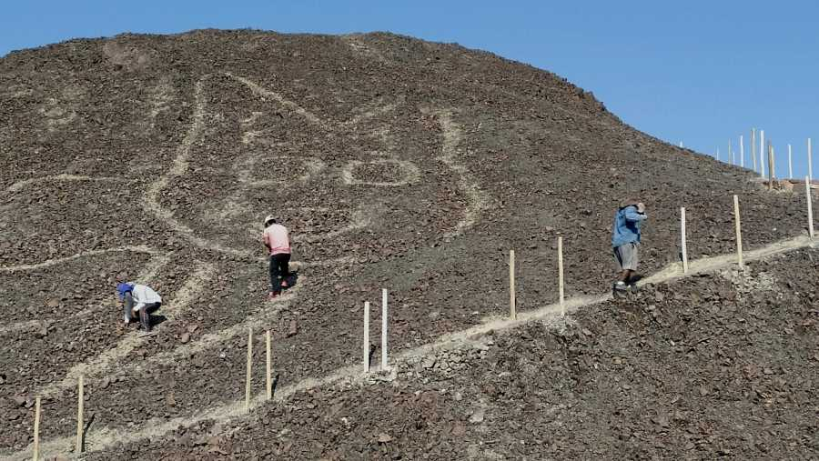 2020年10月に新たに発見された「猫の地上絵」の保全作業の様子 by ナスカの地上絵