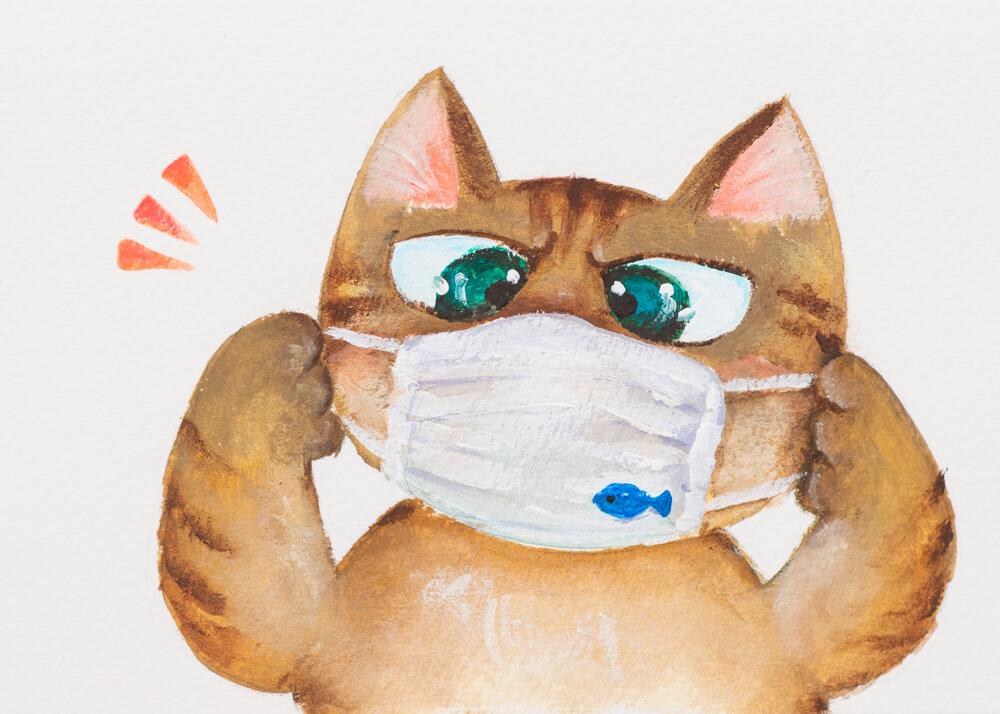 マスクをする猫の絵画 by みやけまさよ(絵画/消しゴムはんこ)
