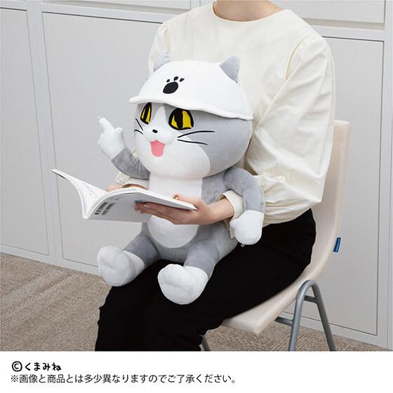 仕事猫のPCクッションを抱きかかえながら読書するイメージ