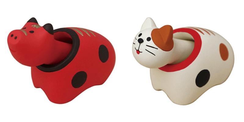 「赤べこ」と「猫べこ」のクリップホルダー「クリップくっつきべこ」
