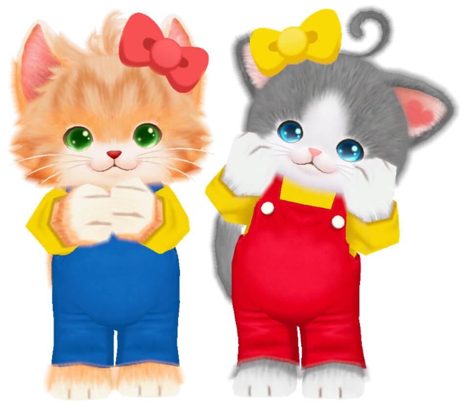 キティ・ミミィの服を着たゲーム「ネコ・トモ」のキャラクター
