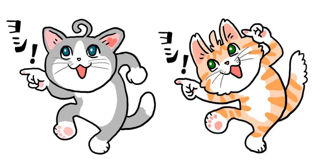 ゲーム「ネコ・トモ」のキャラクターを、仕事猫風にイラストレーターの「くまみね」氏が描き下ろしたイラスト