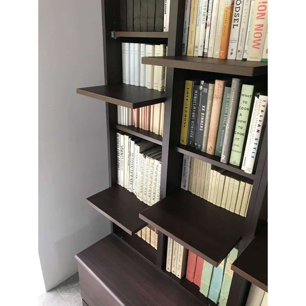ディノスの家具「登って遊べるネコ用ステップ付き たっぷり収納本棚」に棚を設置するイメージ