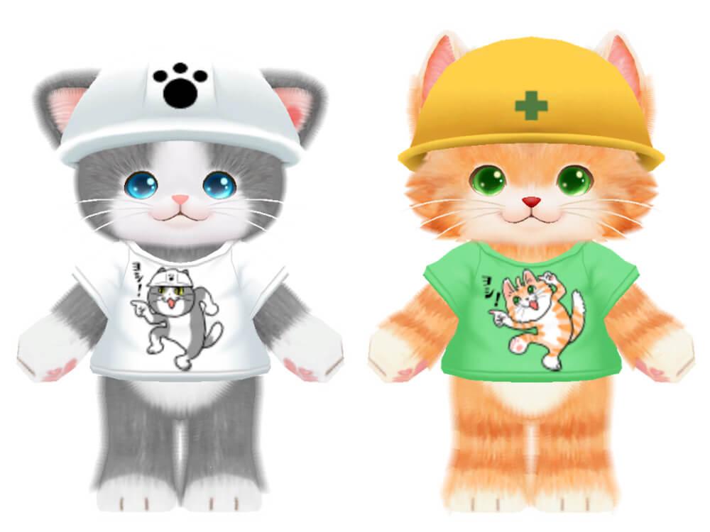 仕事猫のTシャツを着たゲーム「ネコ・トモ」のキャラクター