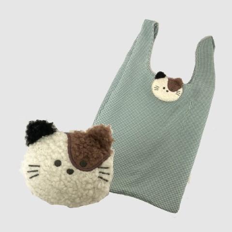 もふもふの動物のエコバッグ「三毛猫」デザインの製品イメージ