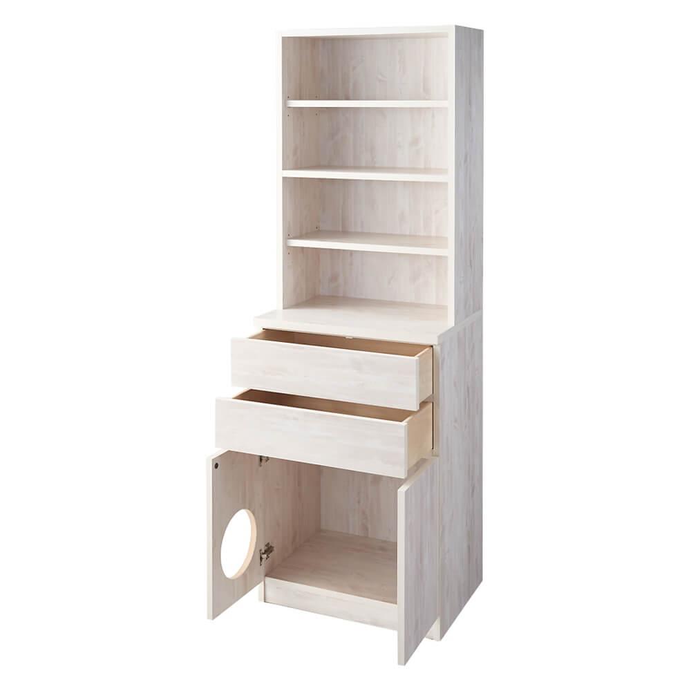 「登って遊べるネコ用ステップ付き たっぷり収納本棚」の設置イメージ by ディノス