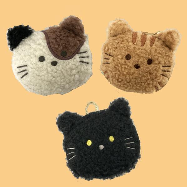 「もふもふの動物のエコバッグ」3種類(ミケ猫、茶トラ、黒猫)のデザインイメージ