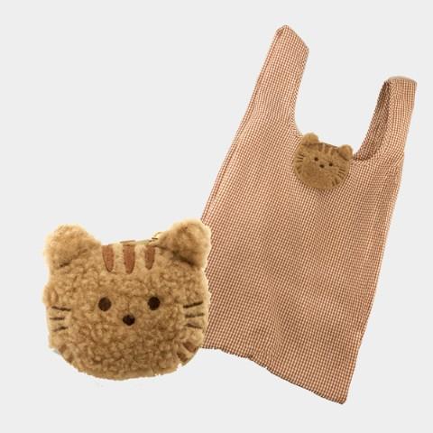 もふもふの動物のエコバッグ「茶トラ猫」デザインの製品イメージ