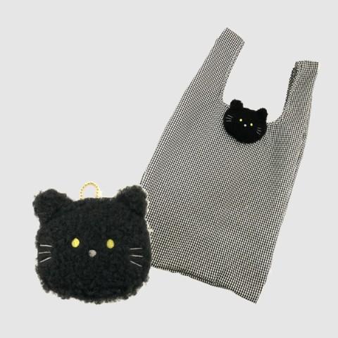 もふもふの動物のエコバッグ「黒猫」デザインの製品イメージ