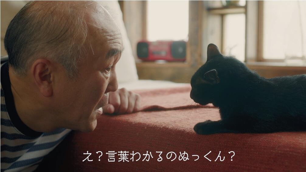 黒猫と会話できることに驚く温水洋一さん