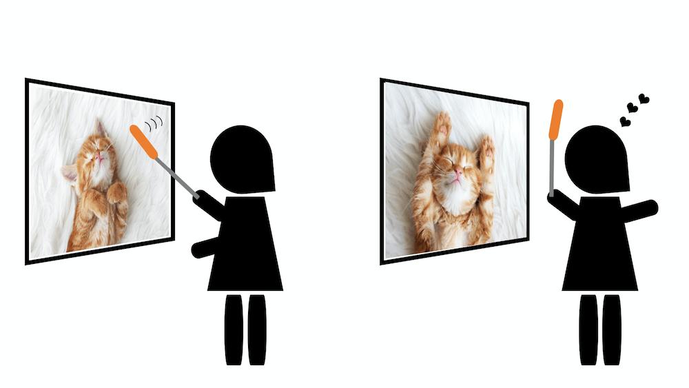 ねこじゃらしを動かすと猫の写真が切り替わる「インタニャクティブねこじゃらしシステム」のイメージ図