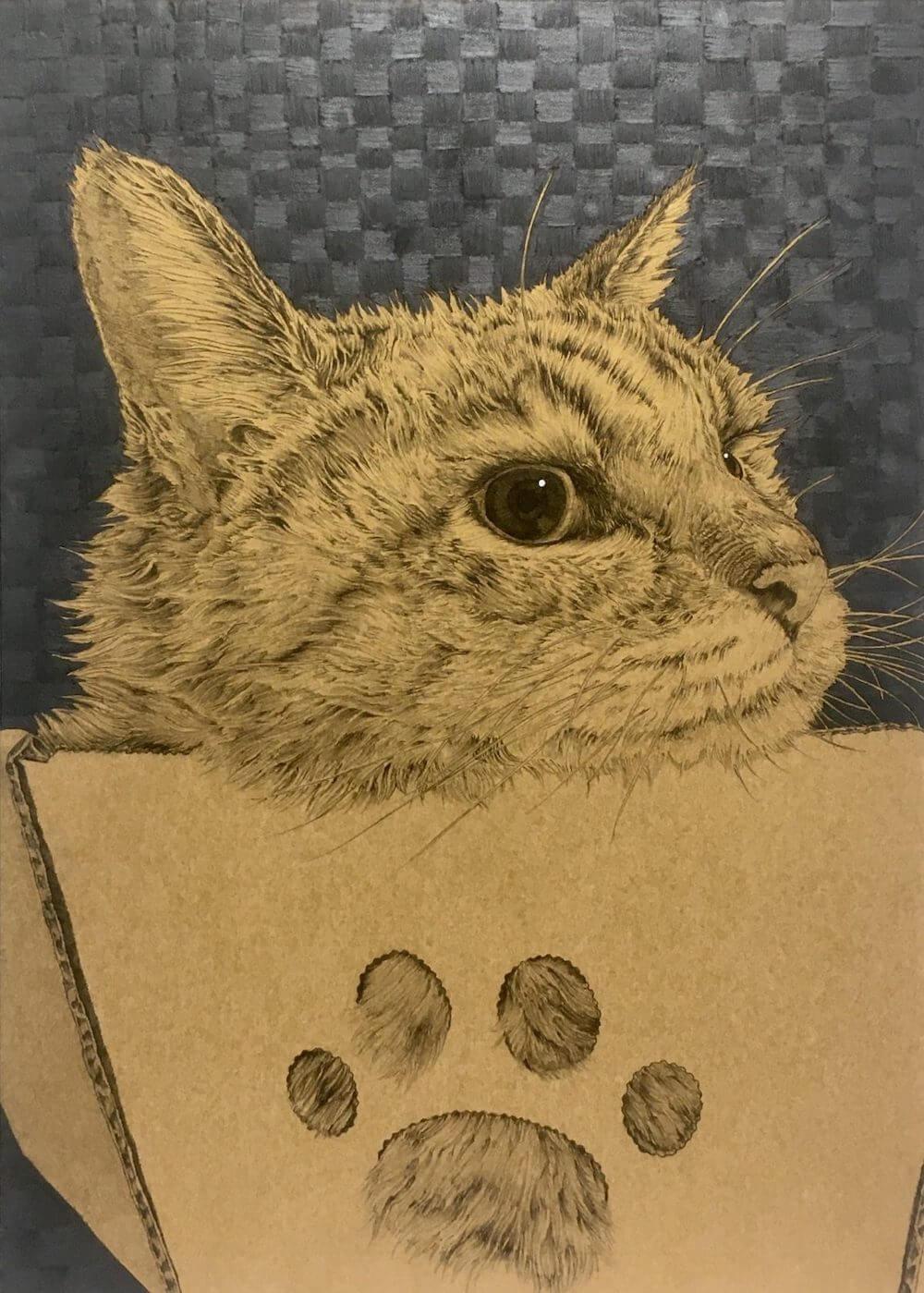 画家・山田貴裕による猫のペン画『Take it easy』