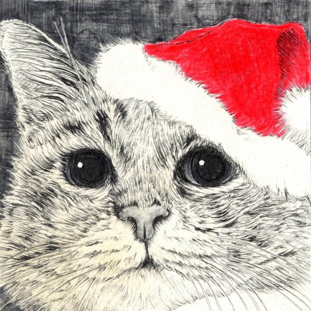 画家・山田貴裕によるサンタクロースの帽子を被った猫のペン画『サンタ猫 I/Santa Cat I』