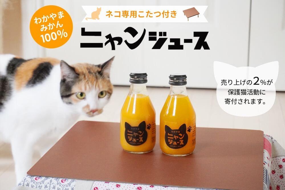 猫用こたつが付属する和歌山みかん100%を使用した「ニャンジュース」メインビジュアル