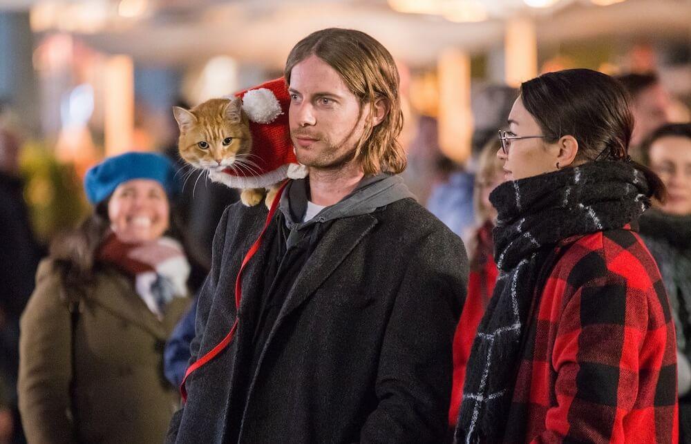 映画『ボブという名の猫2』のワンシーン、ルーク・トレッダウェイ演じるジェームズ・ボーエンと茶トラ猫のボブ