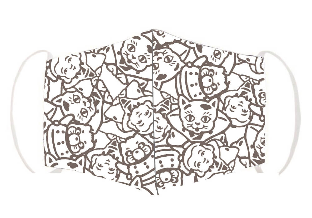 ジブリ映画・平成狸合戦ぽんぽこのキャラクター「猫福助」をモチーフにしたマスク