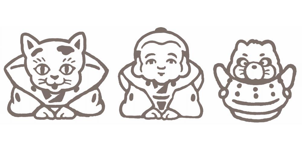 足袋職人がつくったマスク「平成狸合戦ぽんぽこ」のイラスト
