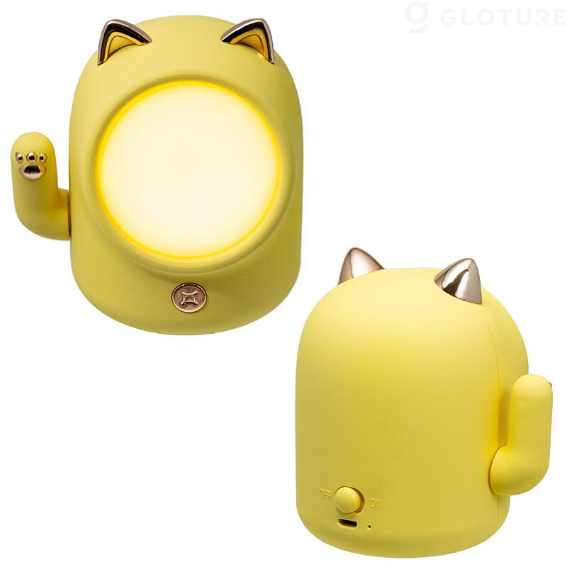手が動く招き猫型のライト(イエロー)、前面&背面イメージ