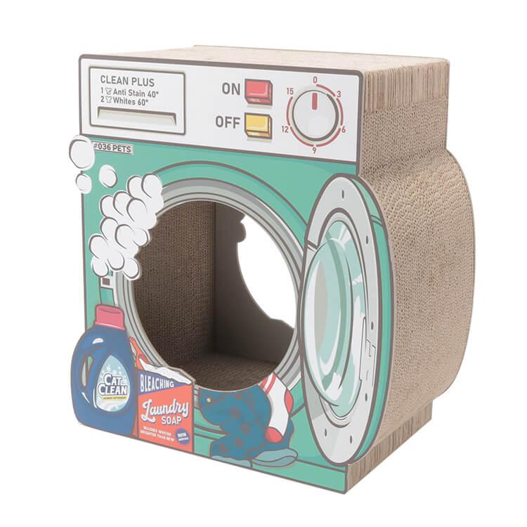 洗濯機型の爪とぎ猫ハウス「爪とぎ Laundry」裏面のイメージ