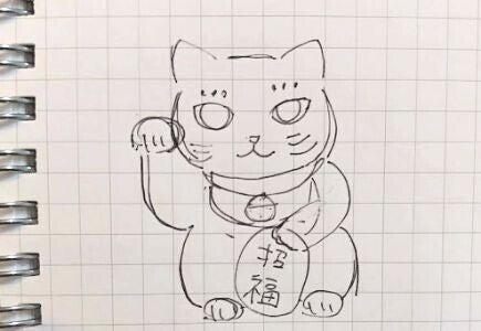 ハンドタオルに刺繍する招き猫のラフのスケッチイメージ