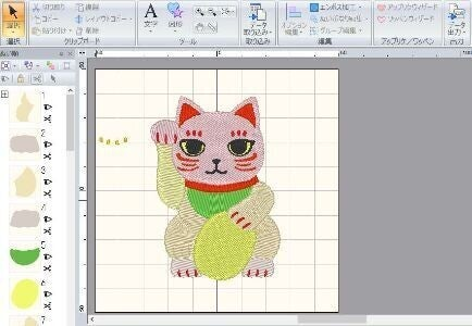 招き猫の手書きイラストを刺繍用にデータ化