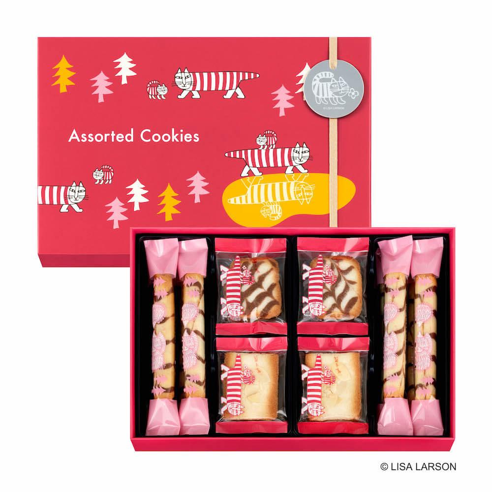 容器に猫のマイキー&ベイビーマイキーがデザインされた「アソーテッドクッキー 20個入り」 by ユーハイム