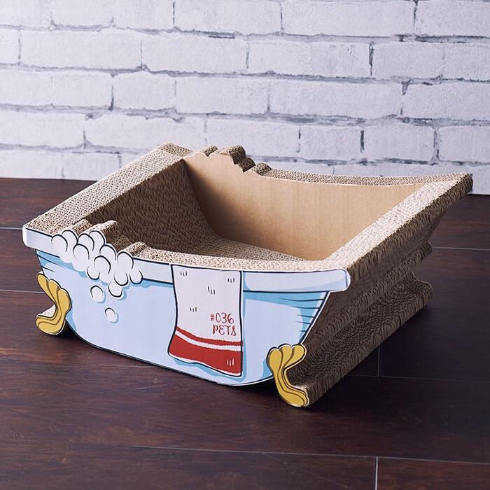 猫脚付きバスタブ型の爪とぎ猫ハウス「爪とぎ Bathtub」製品イメージ by #036PETS(オーサムペッツ)