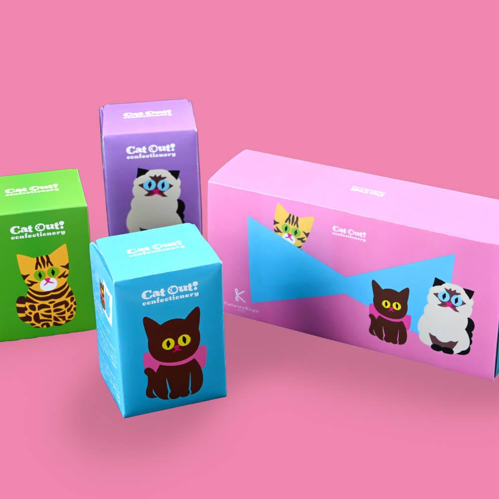 猫をモチーフにした型抜きバウムクーヘン「猫の日セット」商品イメージ